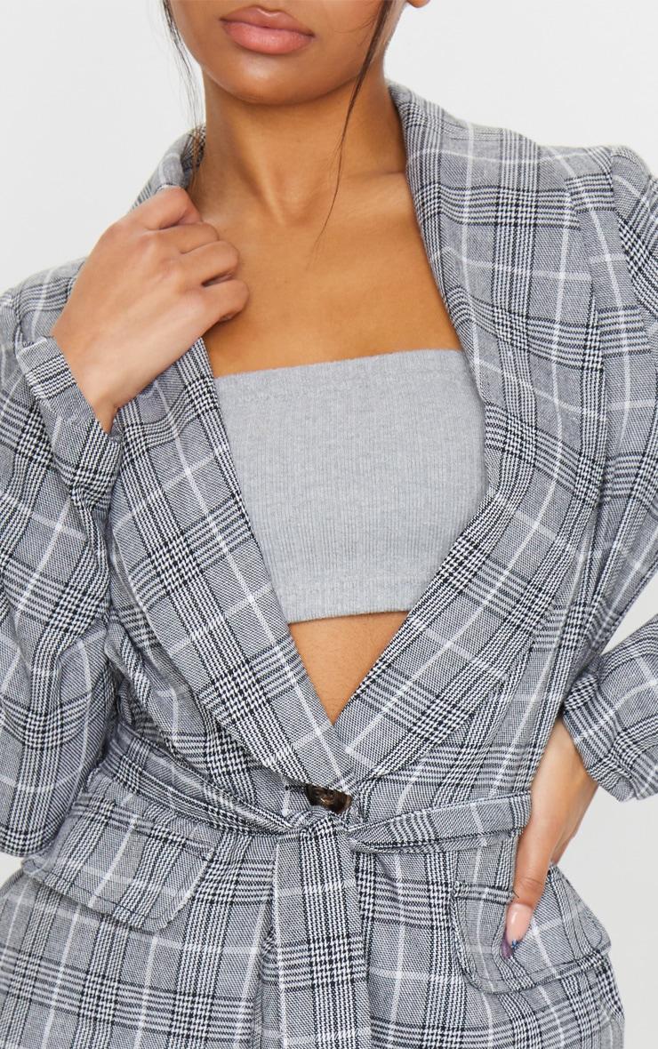 Grey Check Print Belted Lapel Detail Woven Blazer 5