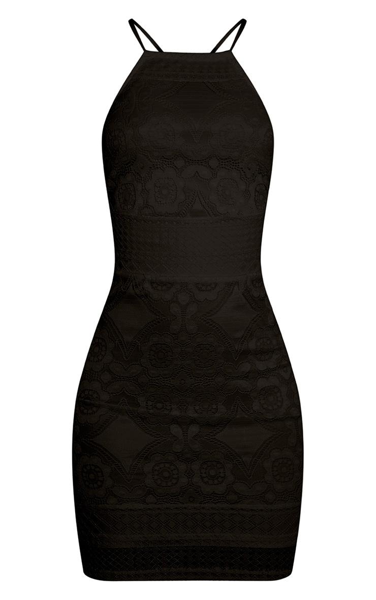 Georgia Black Lace Cross Back Bodycon Dress 3