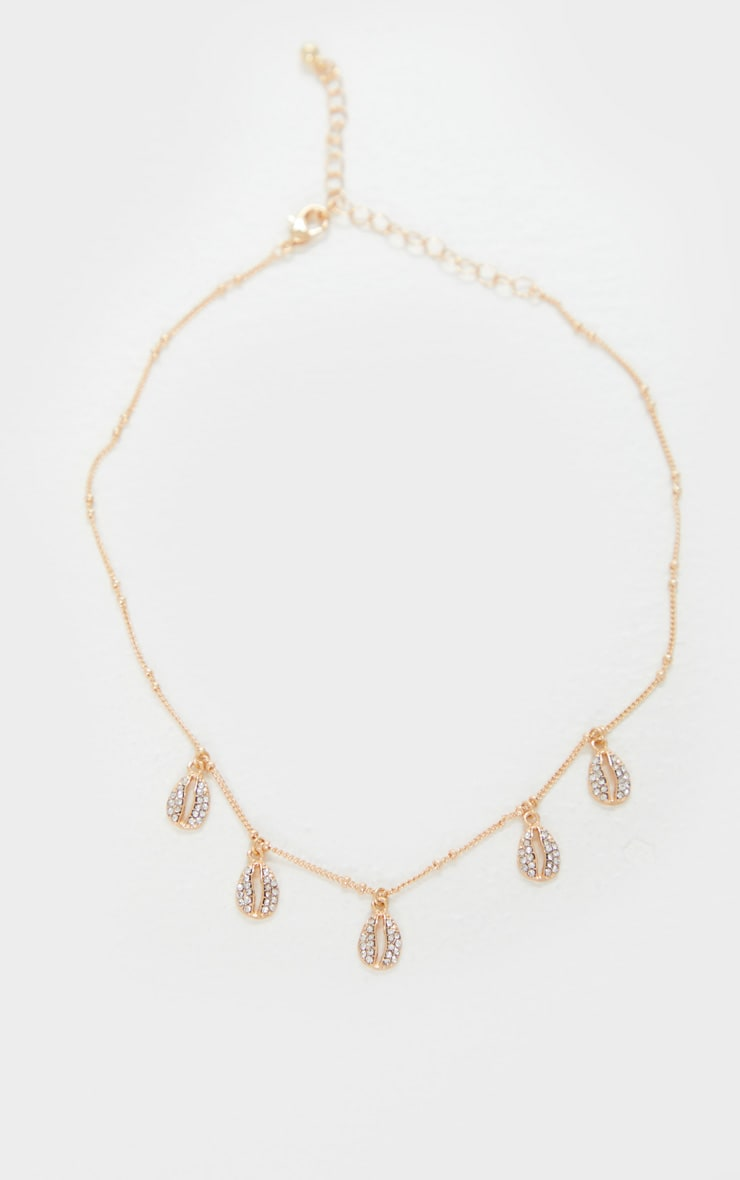 Gold Diamante Shell Tassle Choker 3