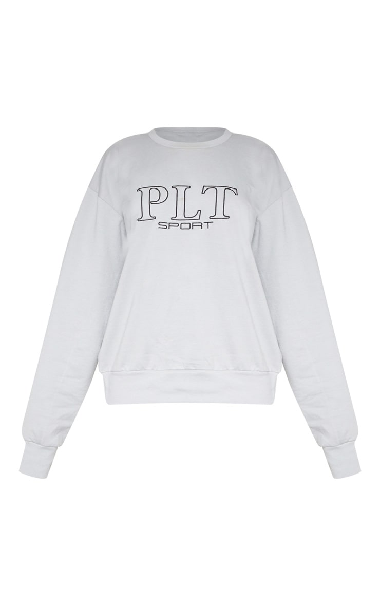 PRETTYLITTLETHING Grey Embroidered Oversized Sweatshirt 3