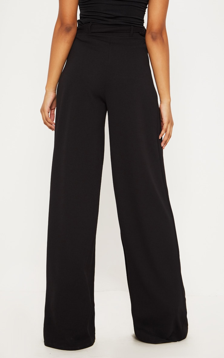Tall Black Ring Detail Pleated Wide Leg Pants 4