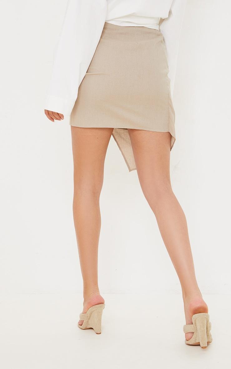 Taupe Pleated Linen Look Mini Skirt 3