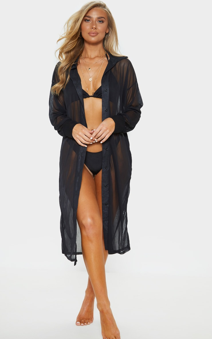 Black Oversized Beach Shirt Dress 1