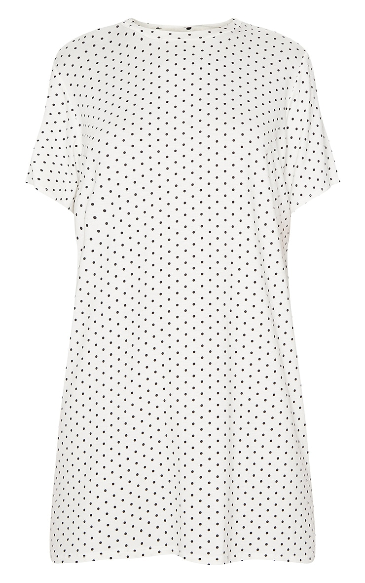 White Polka Dot Oversized T Shirt Dress 3