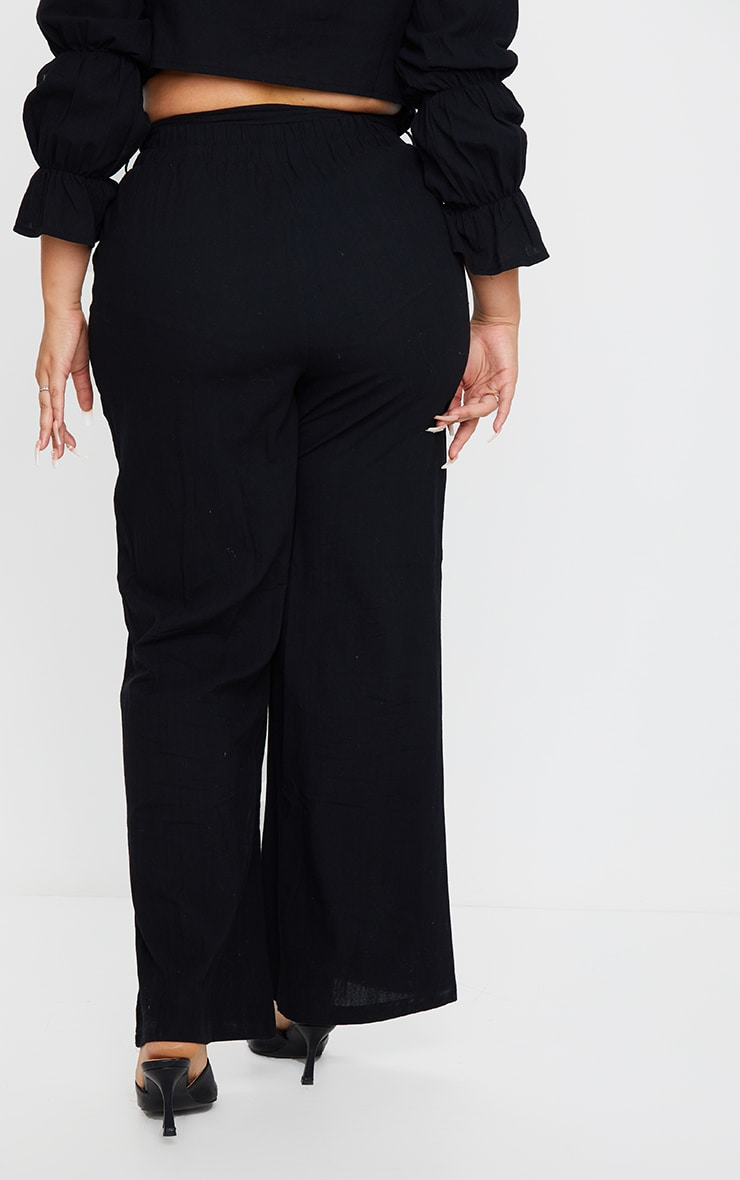 Plus Black Woven Wide Leg Fit Pants 3