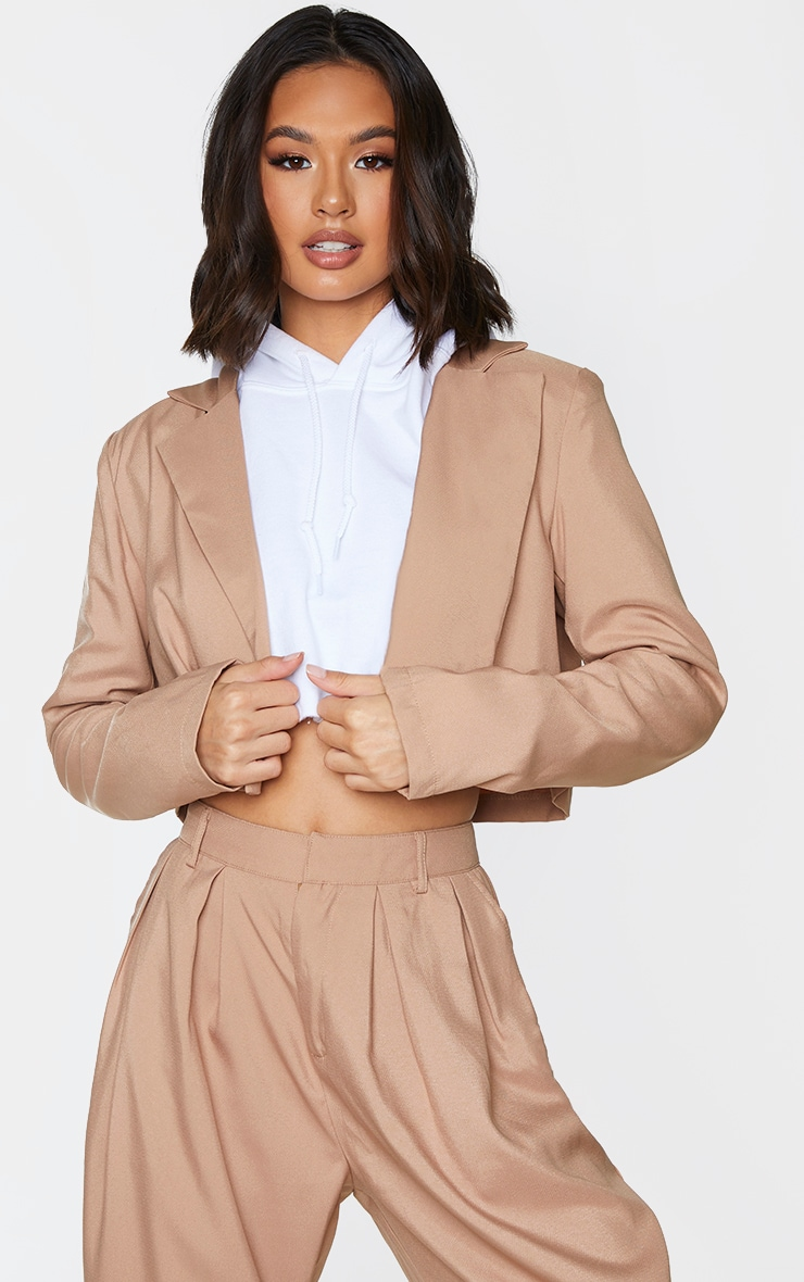 Sand Button Front Cropped Blazer 1