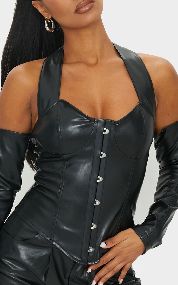 Black PU Halterneck Hook And Eye Long Sleeve Corset 4