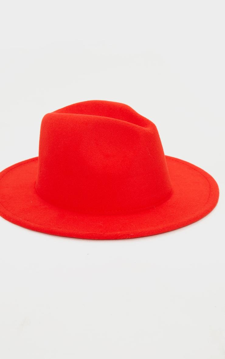 Tomato Red Felt Fedora Hat 2