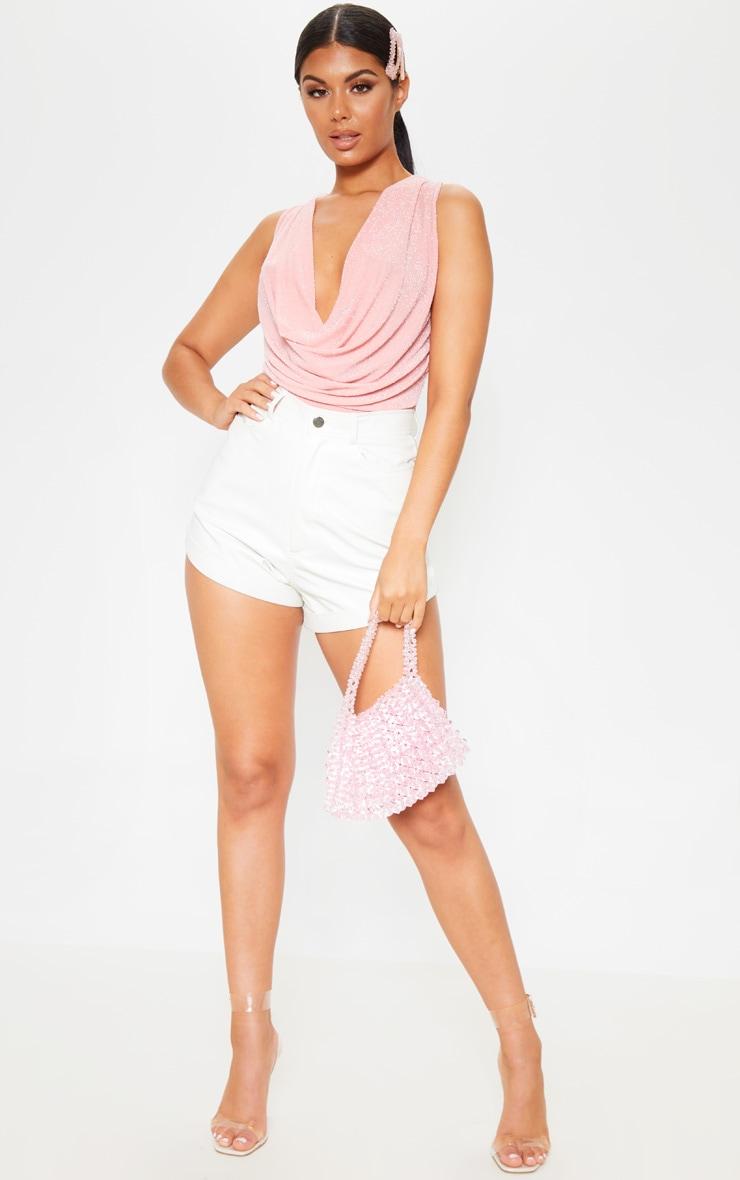 Light Pink Cowl Neck Textured Sparkle Cami 4