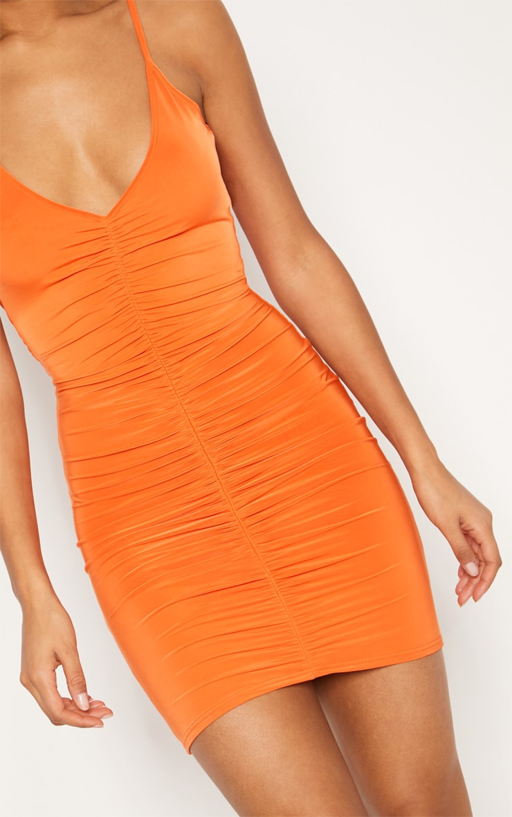 Bright Orange Slinky Ruched Scoop Back Bodycon Dress 5