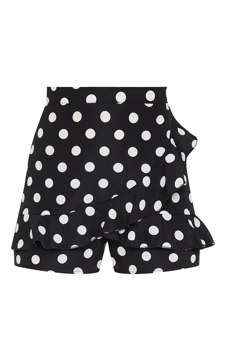 Black Polka Dot Frill Detail Skort 3