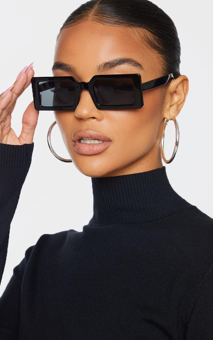Black Squareframe Slimline Sunglasses image 1