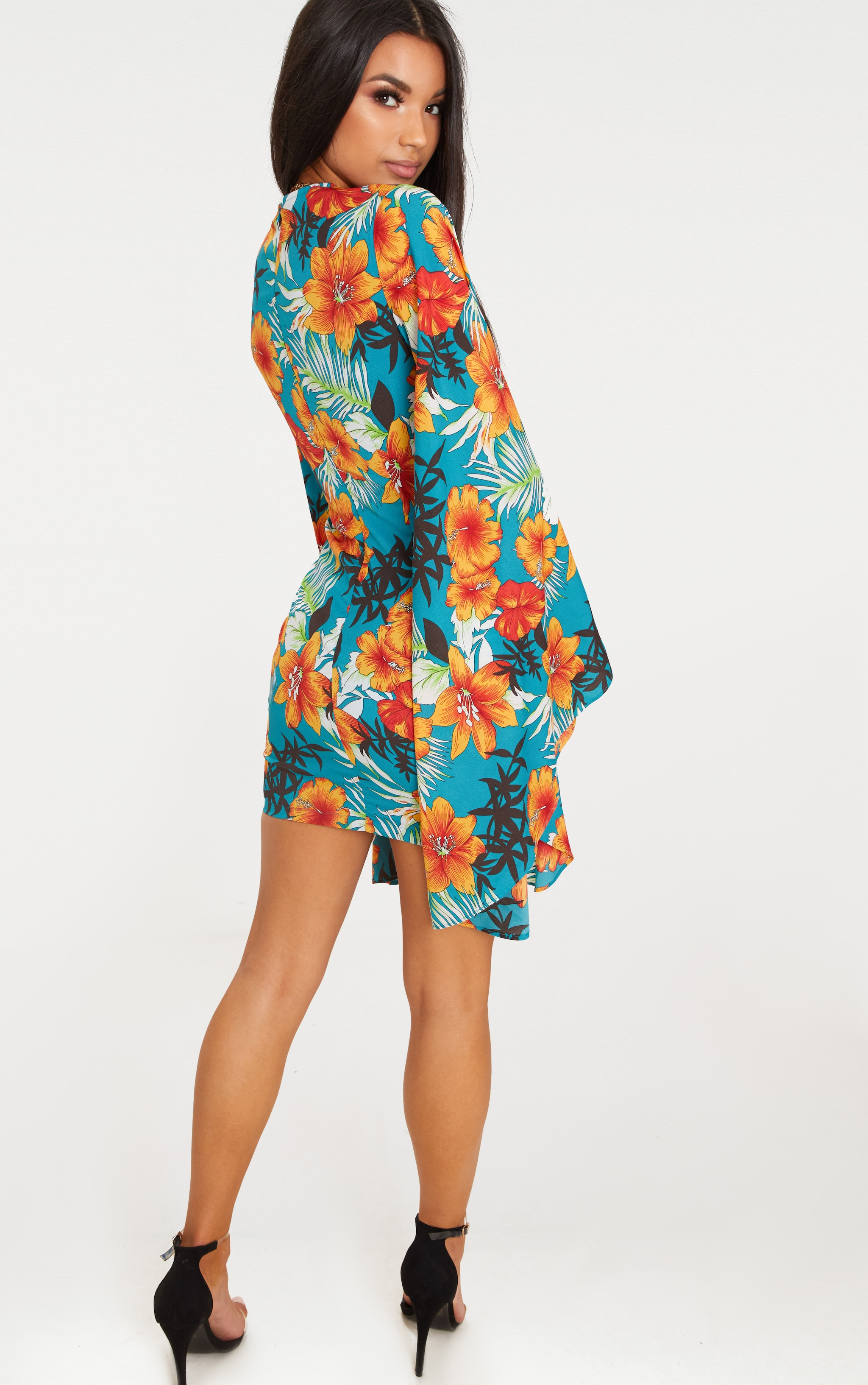 Blue Floral Twist Front Batwing Sleeve Bodycon Dress 2