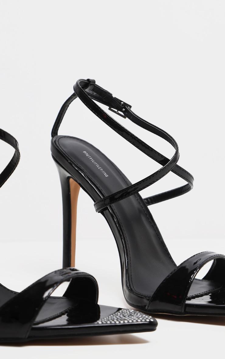 Sandales pointues noires à brides et strass 3