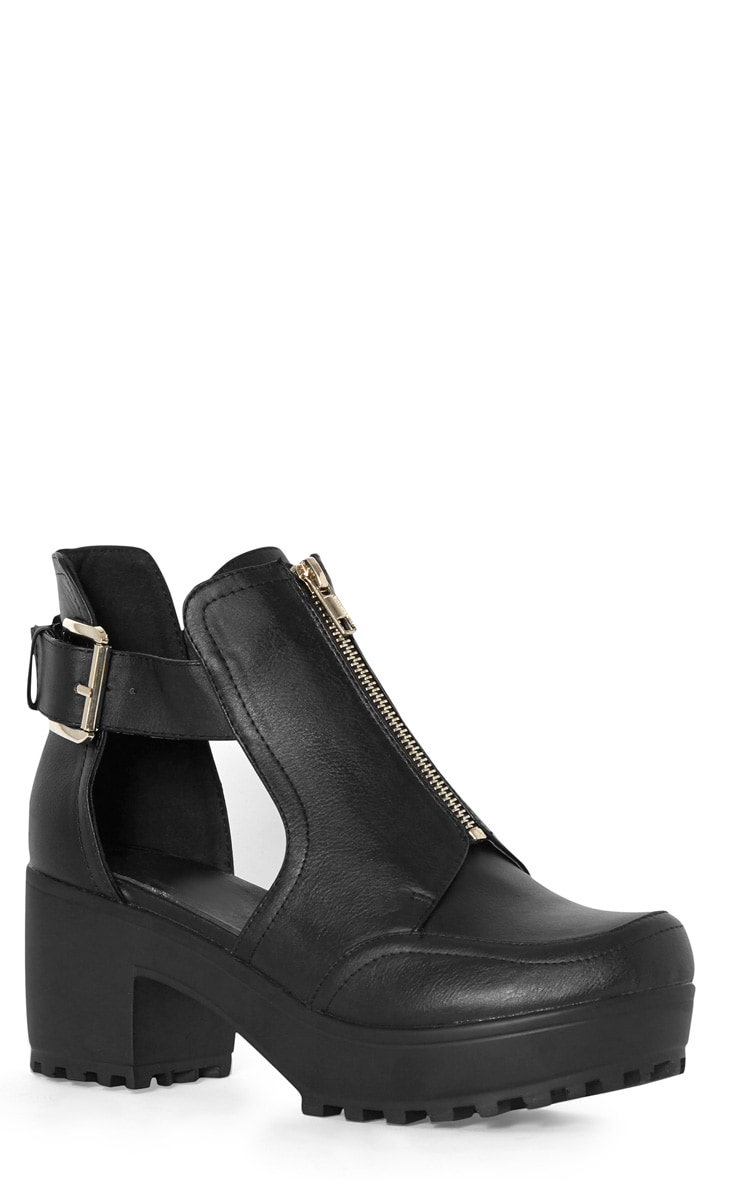 Judith Black Cut Out Zip Up Ankle Boot 2
