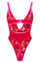 Red Lace Contrast Detail Underwired Body 6