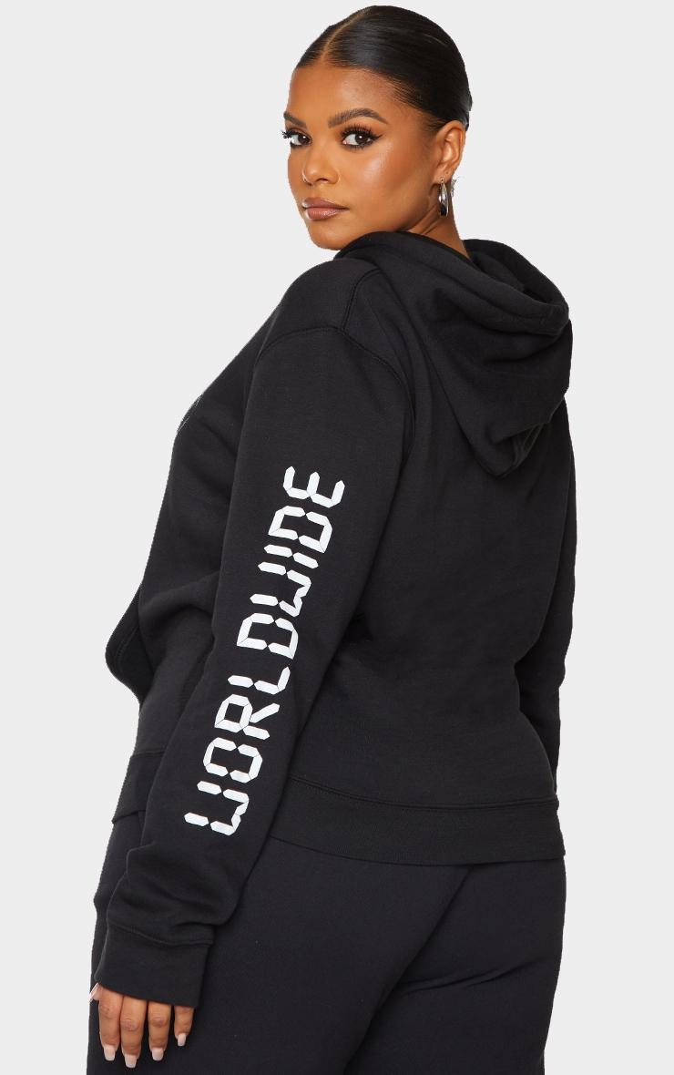 Plus Black Worldwide Slogan Oversized Hoodie 2
