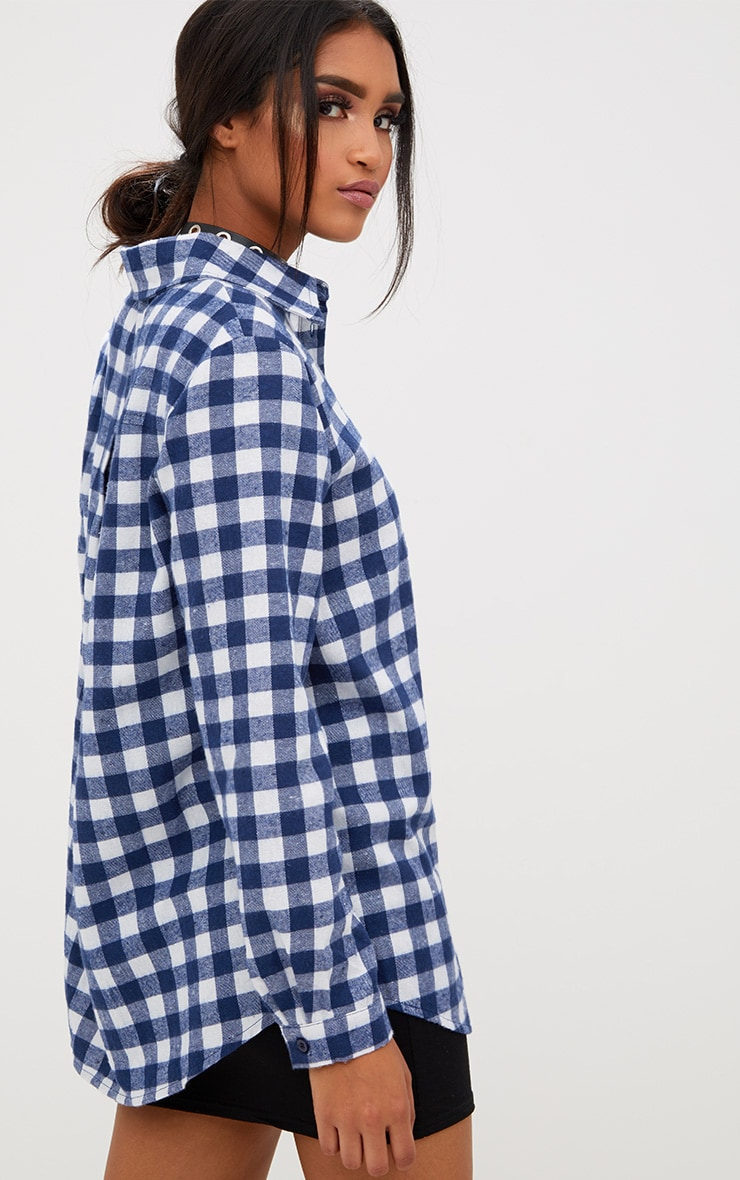 Blue Oversized Checked Flannel Shirt 2