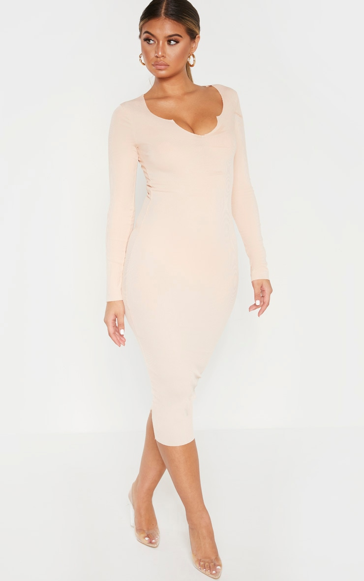 Nude Raw Edge Long Sleeve Rib Midi Dress 4