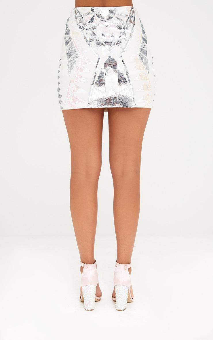 White Sequin Embellishment Mini Skirt 4