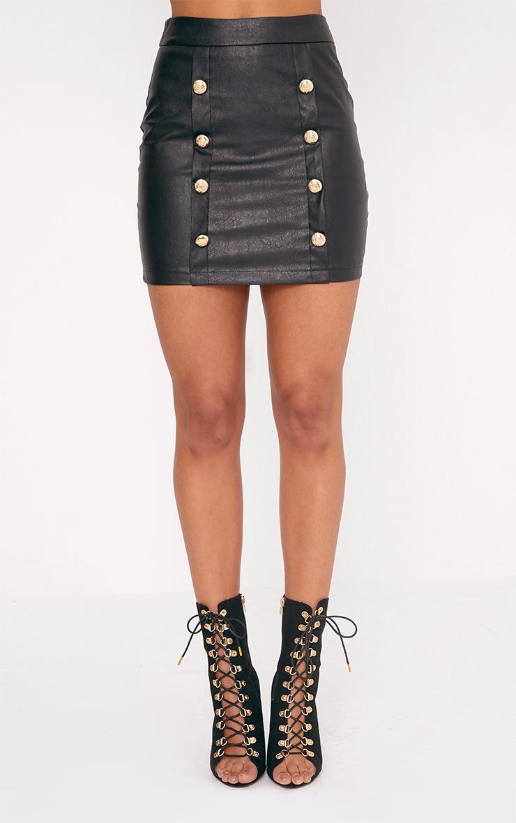 Rexi Black Button PU Mini Skirt 2