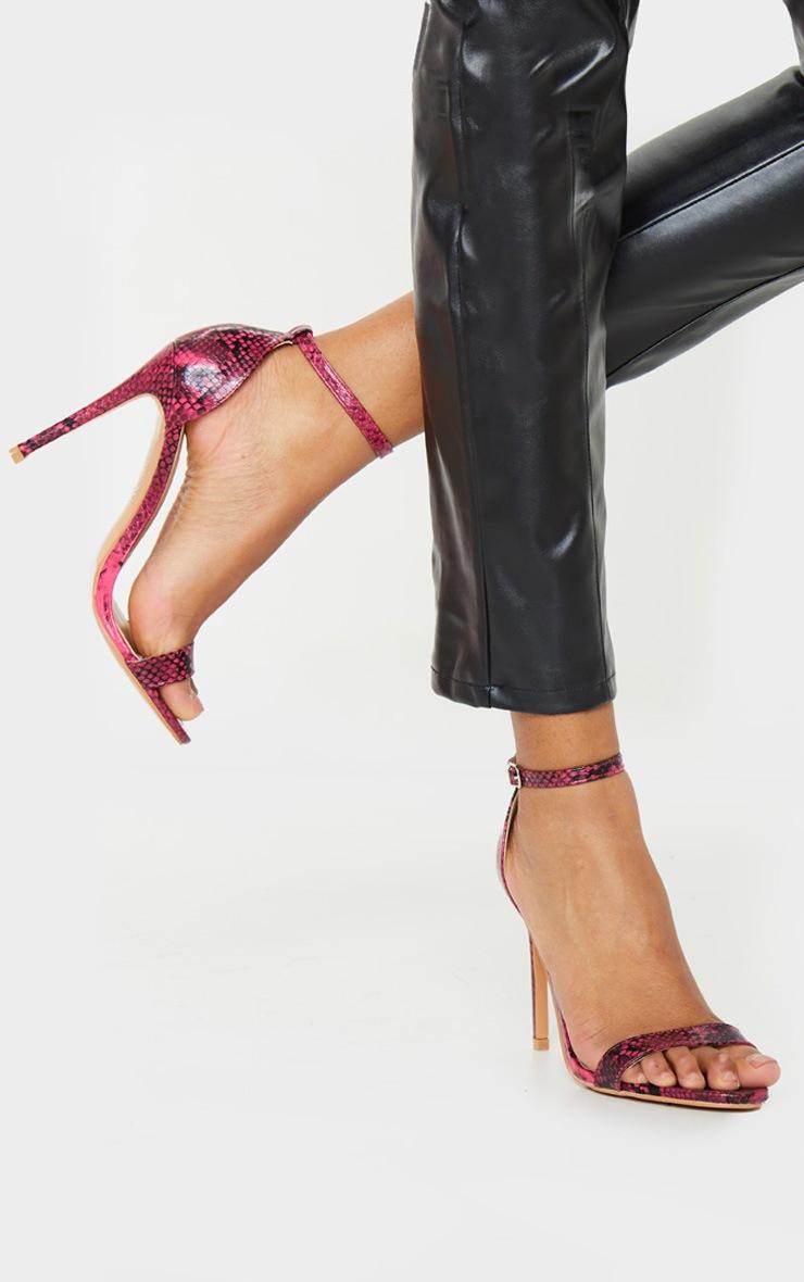 Clover Pink Snake Strap Heeled Sandals 2