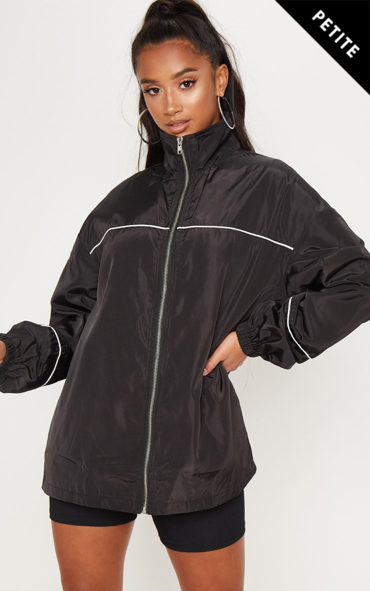 Petite Black Longline Zip Front Shell Jacket