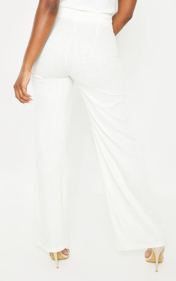 Petite White Wide Leg High Waisted Trouser 4