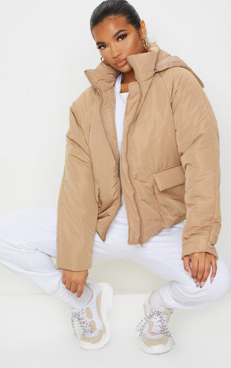 Mocha Basic Hooded Puffer 1