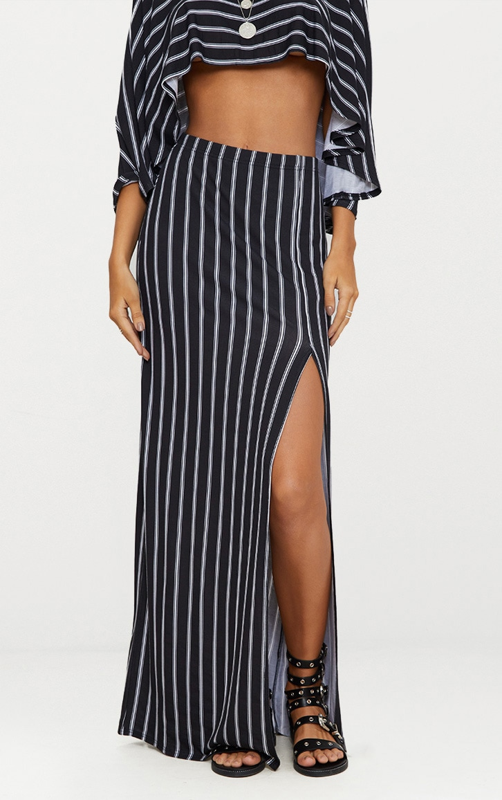 Black Jersey Stripe Extreme Split Maxi Skirt Pretty Little Thing Free Shipping Perfect Clearance 2018 New Eastbay For Sale rwdO1