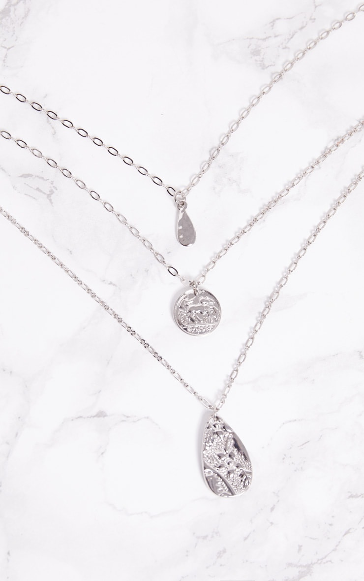 Silver Coin Tear Drop Triple Layer Pendant Necklace 3