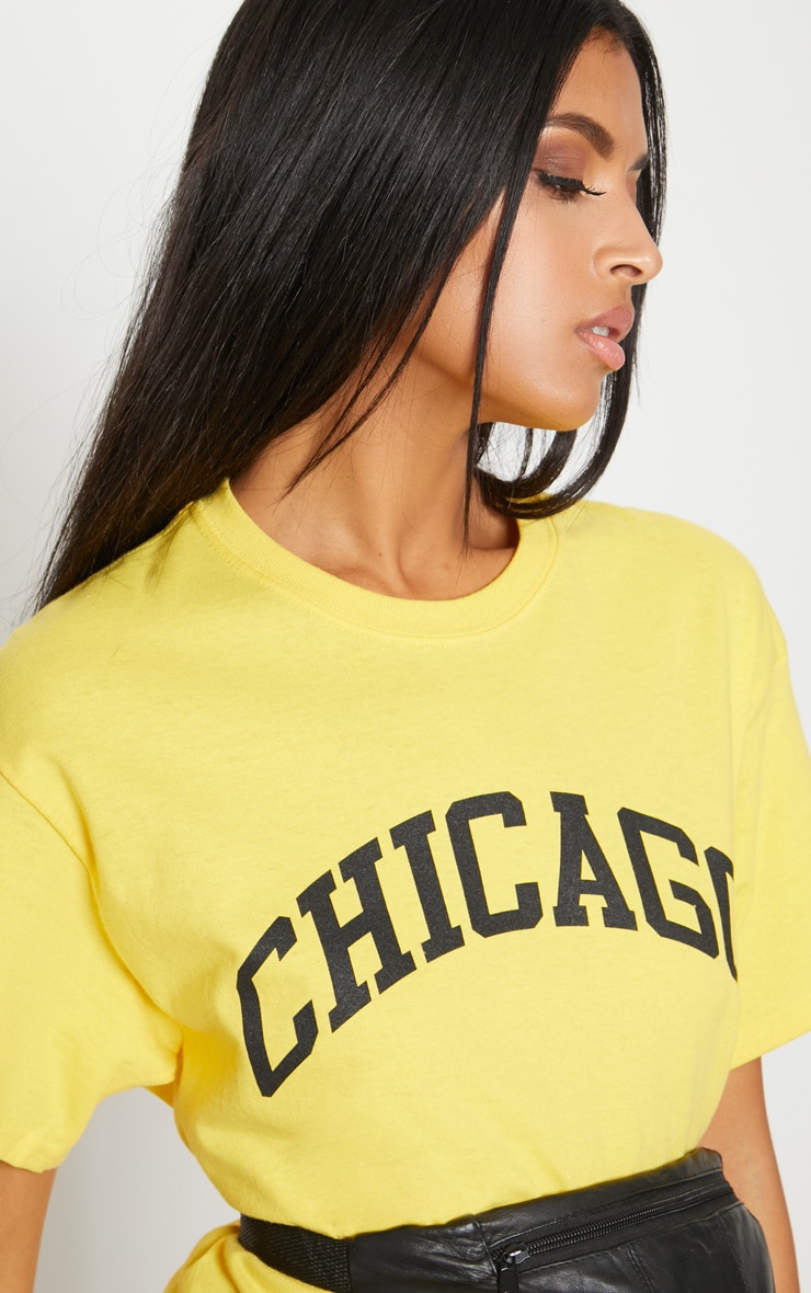Yellow Chicago Slogan Oversized T Shirt 5