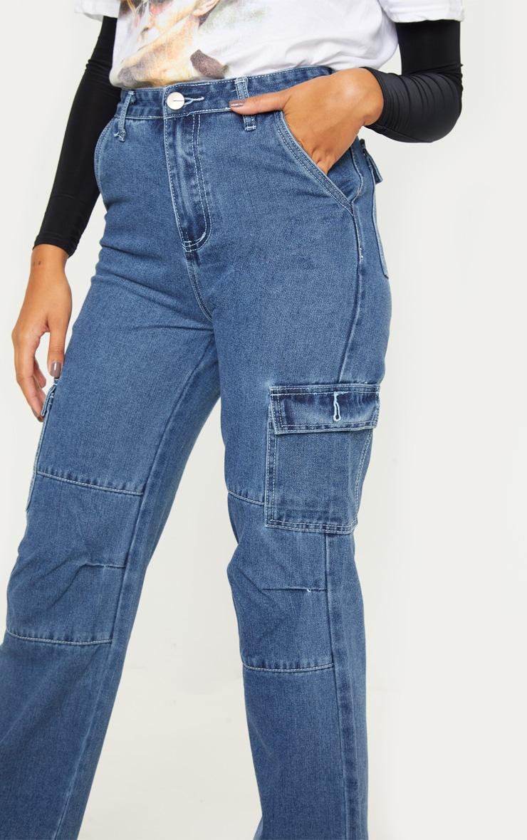 Dark Wash Contrast Stitch Cropped Wide Leg Cargo Jean 5