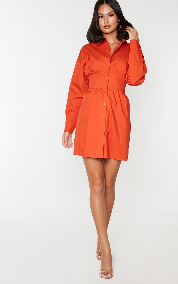 Rust Waist Binding Detail Long Sleeve Shirt Dress 1
