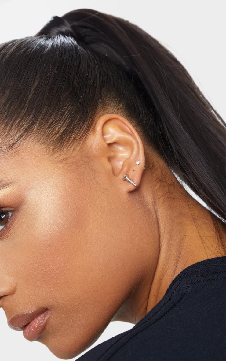 Silver Screw Earrings 1