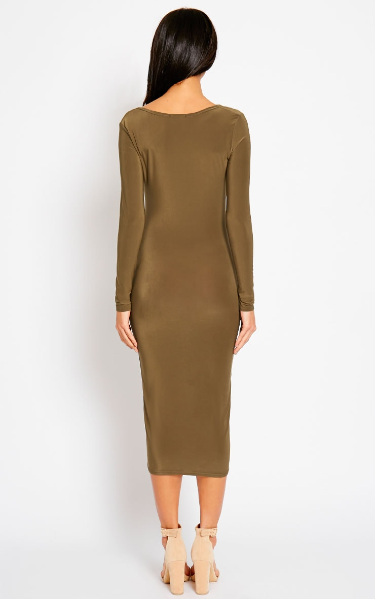 Ziva Khaki Slinky Cowl Neck Midi Dress 2