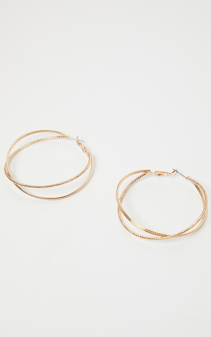 Gold Textured Large Hoop Earrings 1