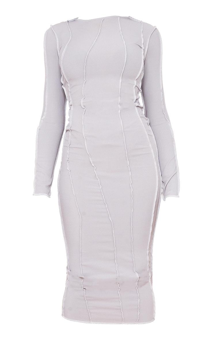 Robe longue grise manches longues côtelée à coutures asymétriques 5