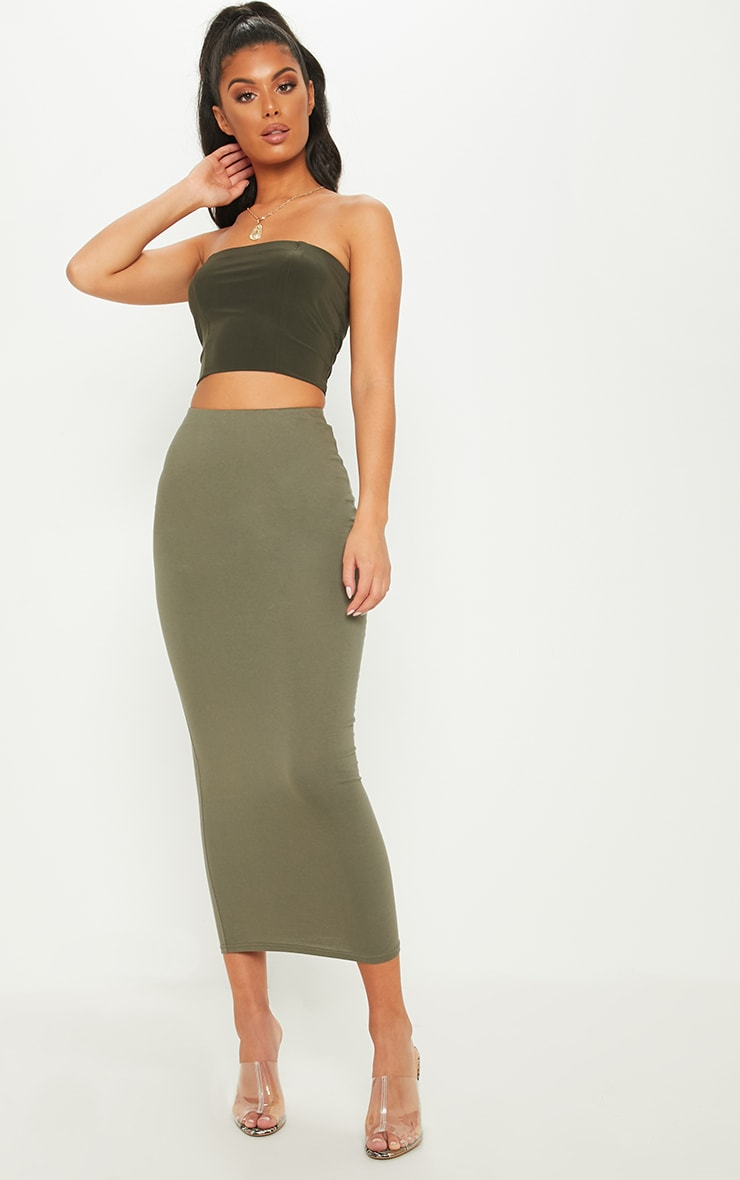 Deep Khaki Jersey Midaxi Skirt  1