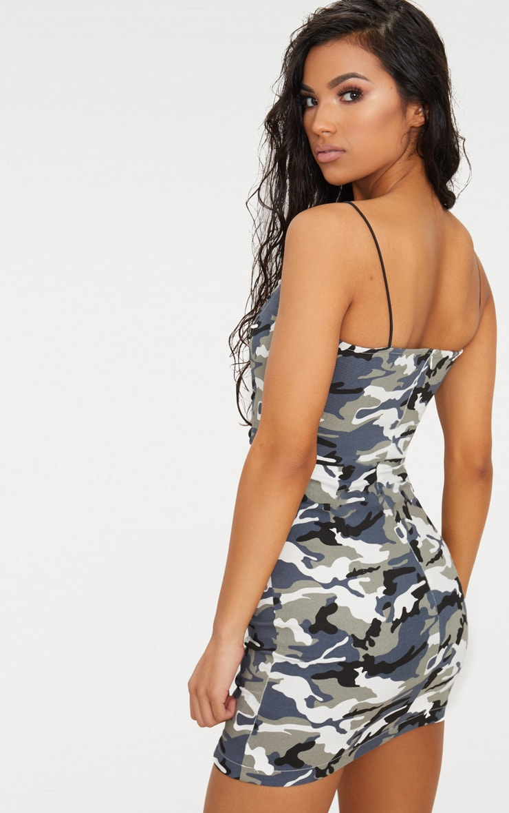 Grey Camouflage Lace Up Bodycon Dress 2