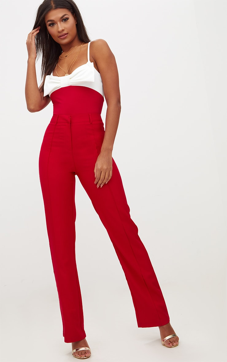 Red Bow Front Thong Bodysuit 5