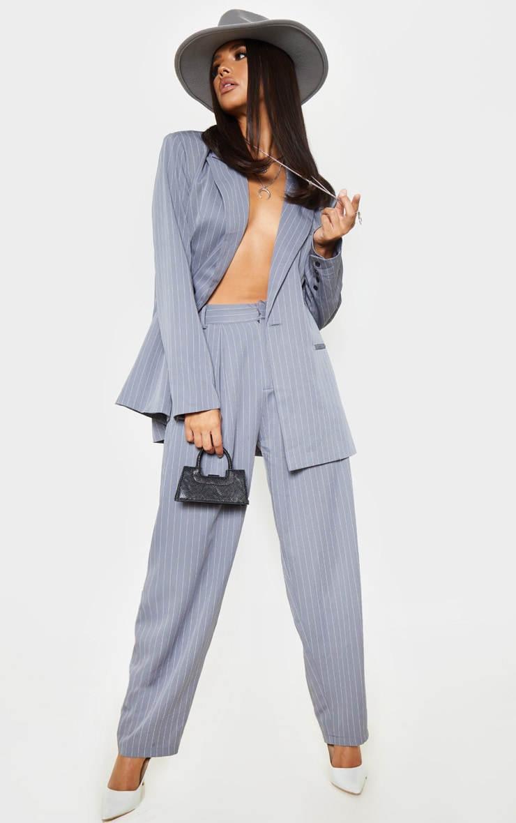 Charcoal Grey Pinstripe Woven High Waisted Cigarette Pants