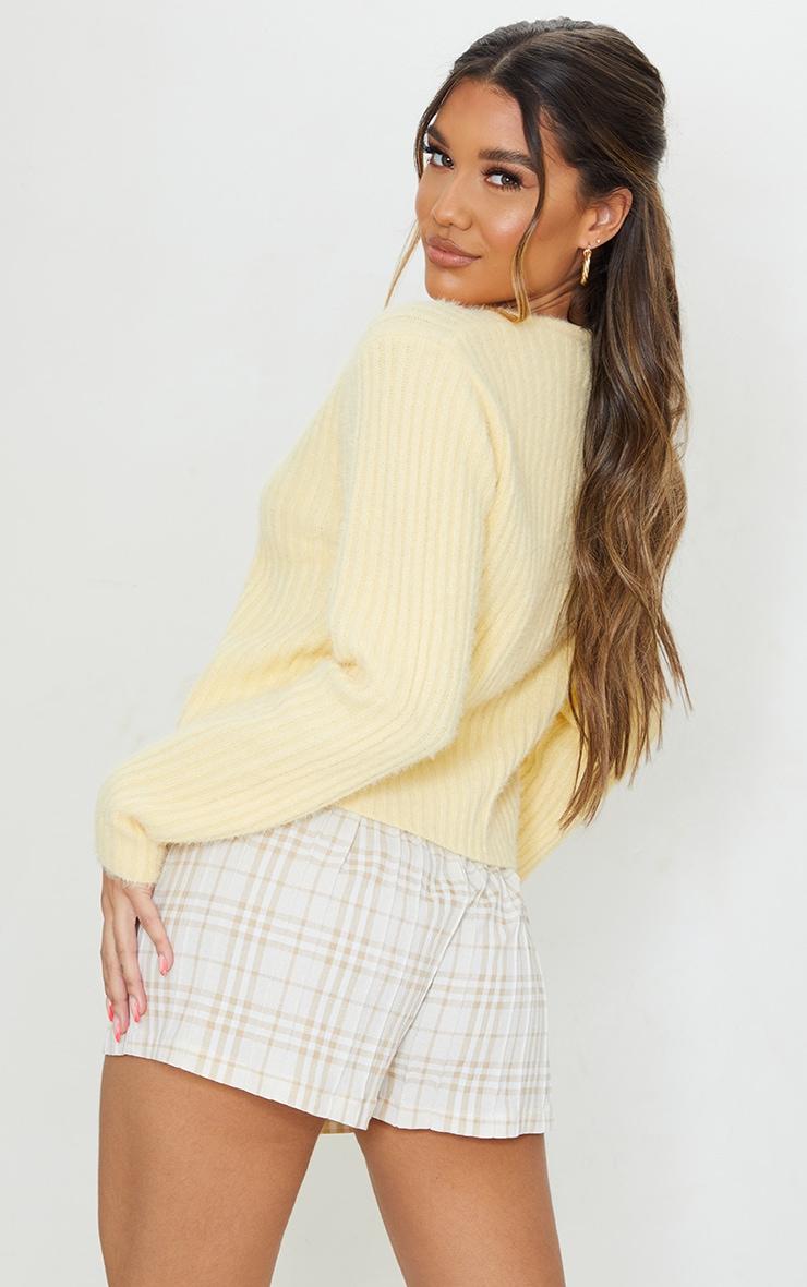 Yellow Premium Eyelash Tie Front Knitted Cardigan 2