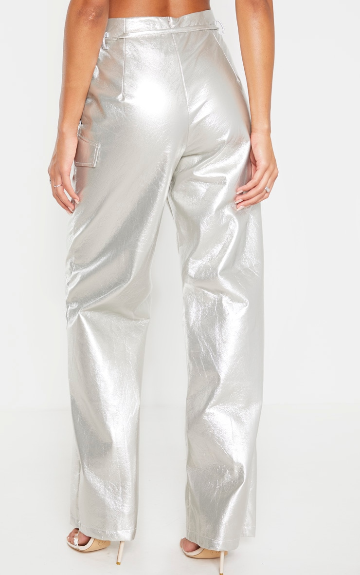 Silver Cracked Faux Leather Pocket Detail Wide Leg Pants 4