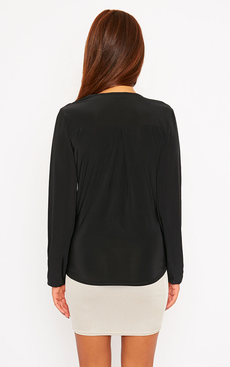 Kimberley Black Slinky Wrap Top 2