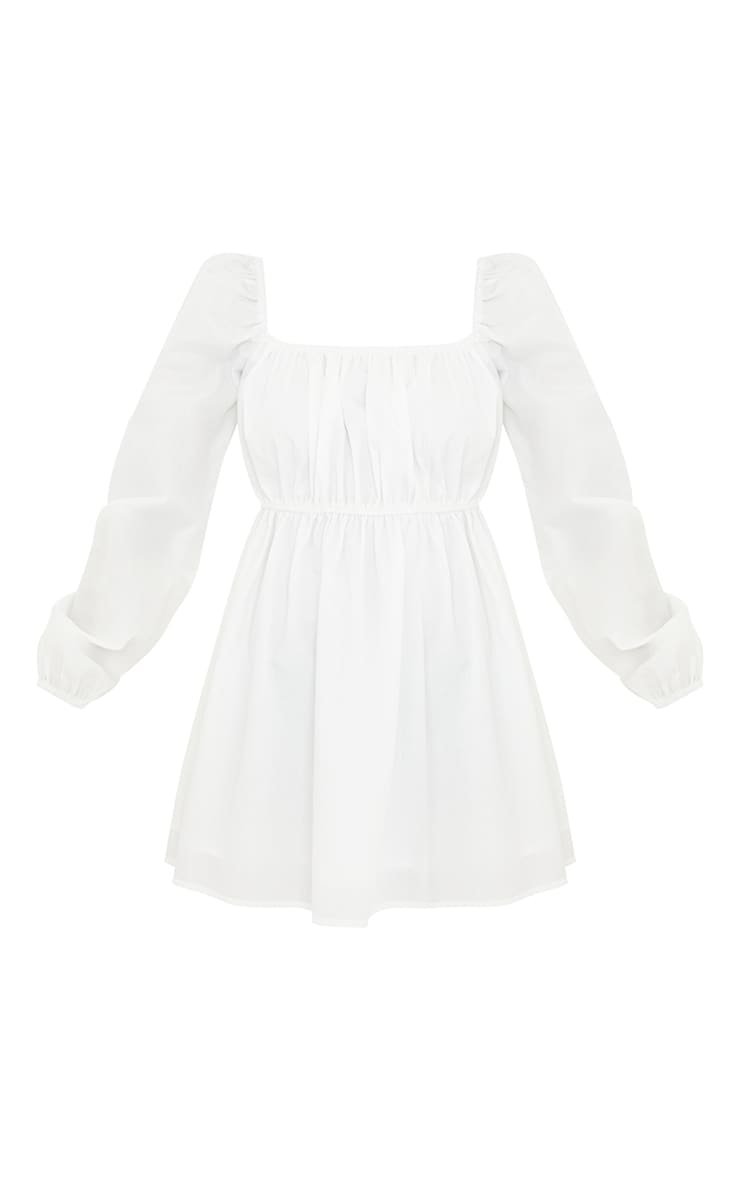 Petite White Ruched Balloon Sleeve Smock Dress 5