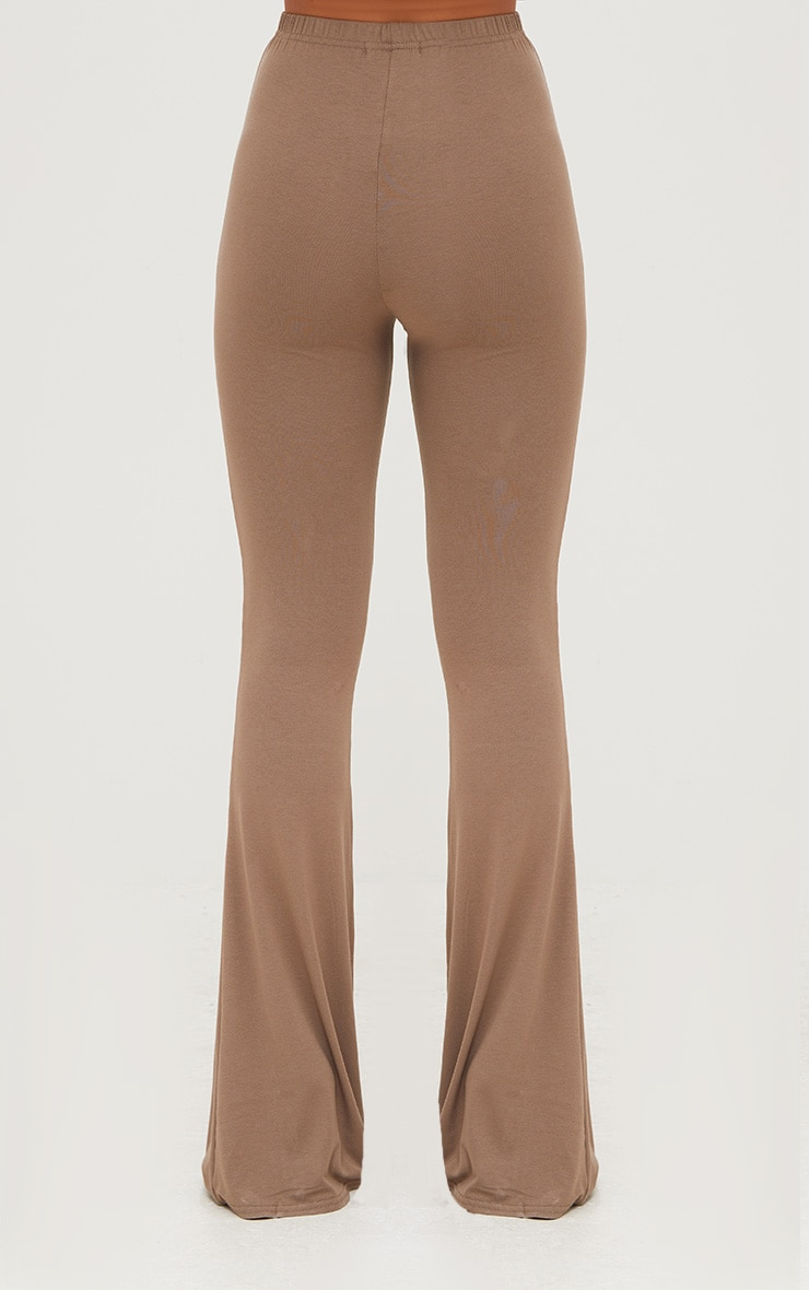 Mocha Jersey Flared Trousers 4