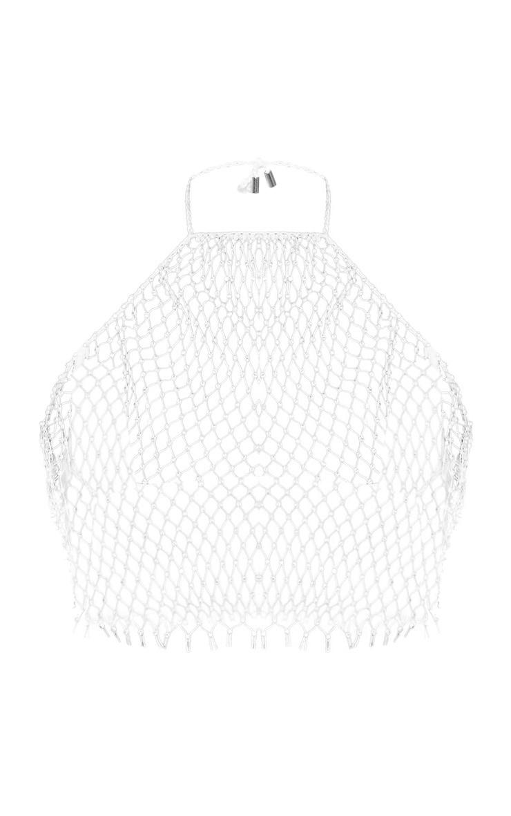Crop top bijou en résille blanche à strass 3