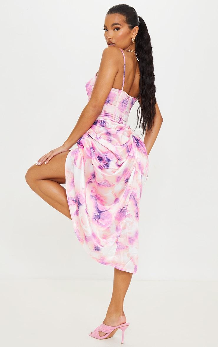 Robe satinée mi-longue à corset et jupe froncée lilas imprimé tie & dye 2