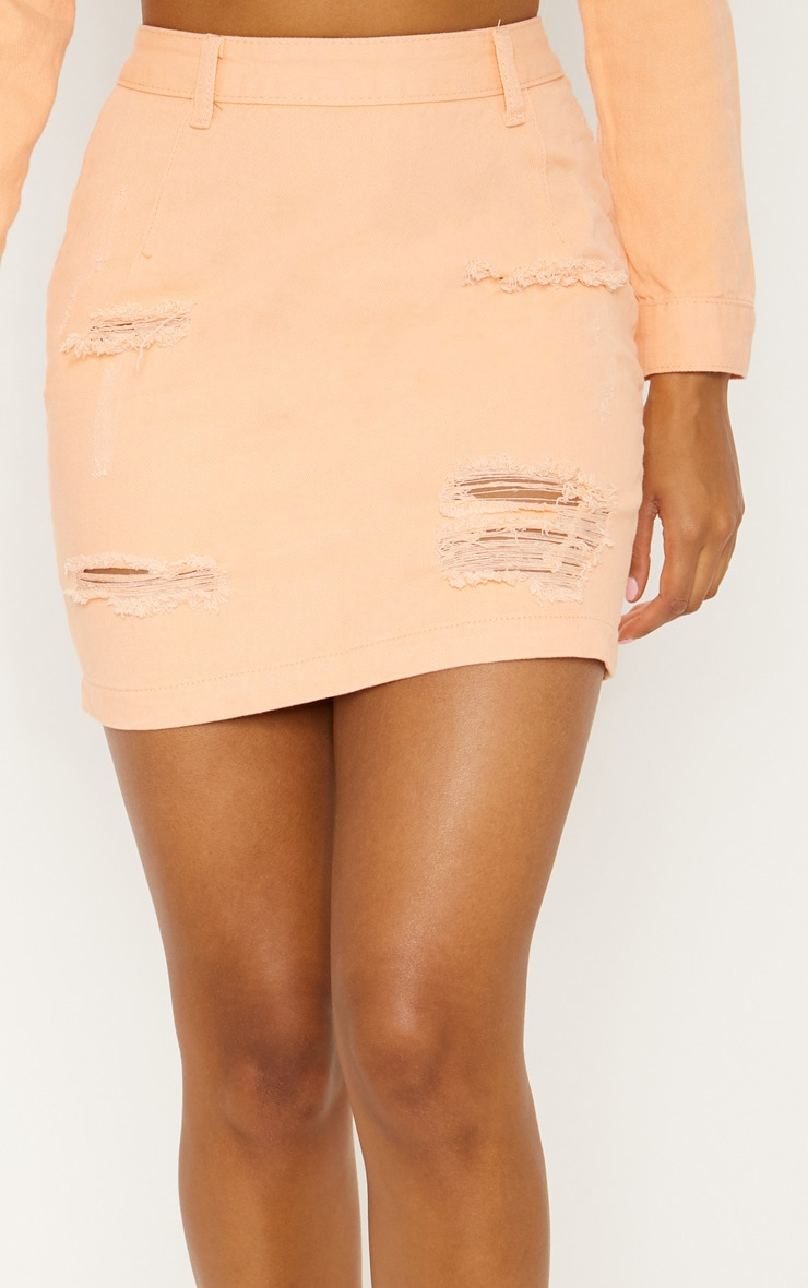 Peach Super Distress High Waisted Denim Mini Skirt 6